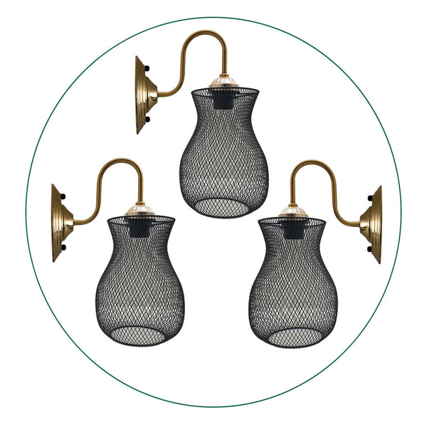 3 Pack Industrial Cage Wall Lights Sconce Lamp Wall Light Retro Edison Loft With Free Bulb