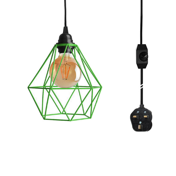 Black Dimmer Switch Plug In Pendant Light Green Diamond Shade