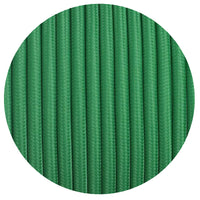 3 core Round Vintage Braided Fabric  Green Cable Flex 0.75mm