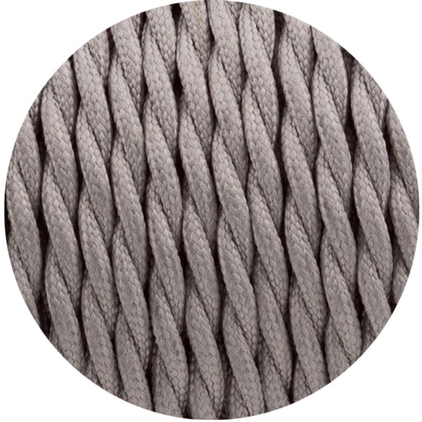 2 Core Twisted Electric Cable Grey colour 5m fabric 0.75mm