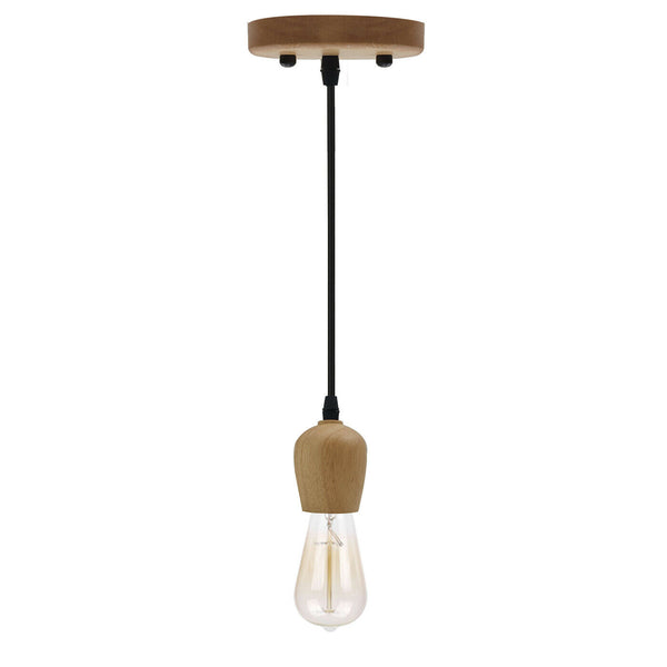 Industrial Wood E27 Screw Holder Ceiling Rose Pendant Light