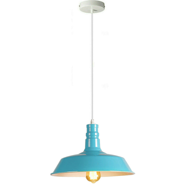 Light Blue Pendant Light Lampshade Ceiling Light Shade With Bulb