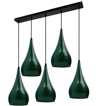 Green 5 Outlet Ceiling Light Fixtures Black Hanging Pendant Lighting
