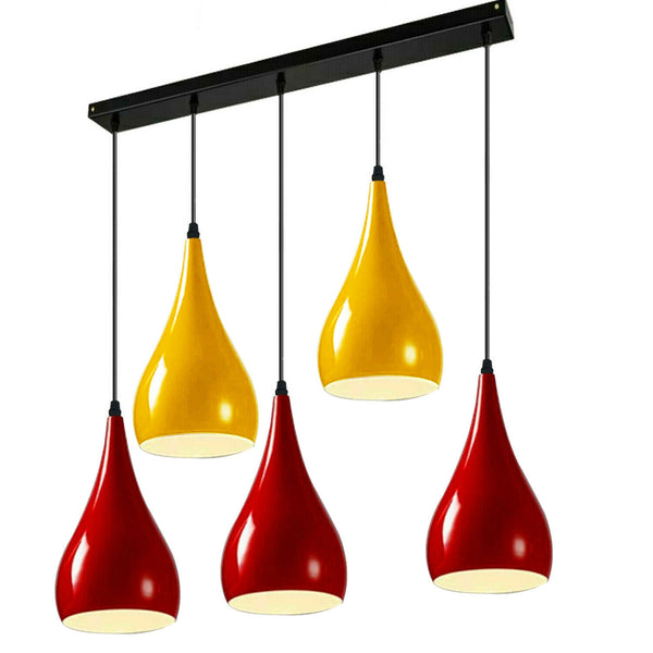Red And Yellow Light Pendant Hanging Light Industrial 5 Outlet Pendant