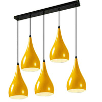 Yellow 5 Outlet Ceiling Light Fixtures Black Hanging Pendant Lighting