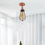 Modern Industrial Rose Gold Flex Arm Retro Light Cage Ceiling Fixtures E27