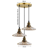 Modern Retro 3 Way Ceiling Pendant Light Cluster Light Fitting Glass Lampshade Yellow Brass Finish Home E27 Lighting Kit for Kitchen Island Living Room Dining Room
