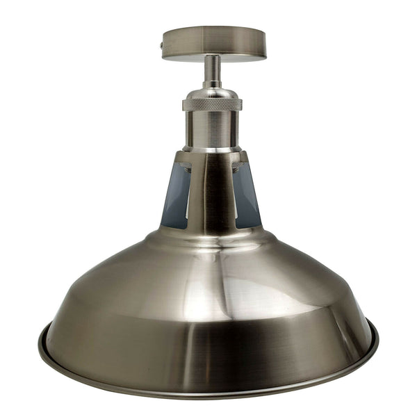 Modern Semi Flush Fittings Brushed Metal Lounge Ceiling light - Satin Nickel