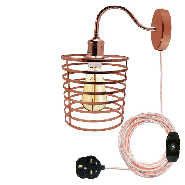 Retro Industrial Wall Sconce Light Plug in Wall Lamp Rose Gold