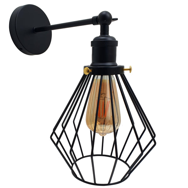 Modern wall lamp retro industrial iron bird cage wall light Adjustable sconce
