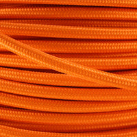 3 Core Round Vintage Fabric Cable Italian Braided Flex 0.75mm Orange UK - Shop for LED lights - Transformers - Lampshades - Holders | LEDSone UK