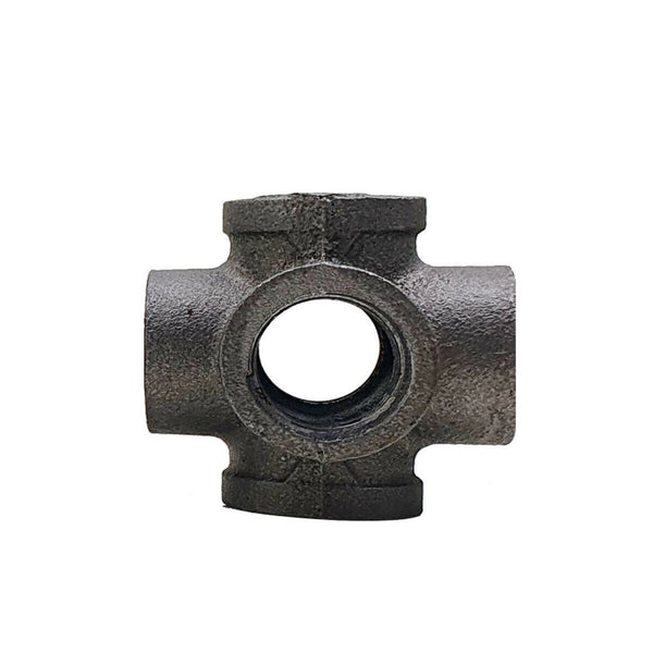 6 Way Pipe Fitting Malleable Iron Black Outlet