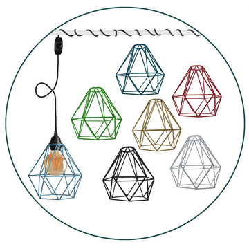 Plug In Pendant With Dimmer Switch 4m Fabric Cable Diamond Cage Lighting Kit