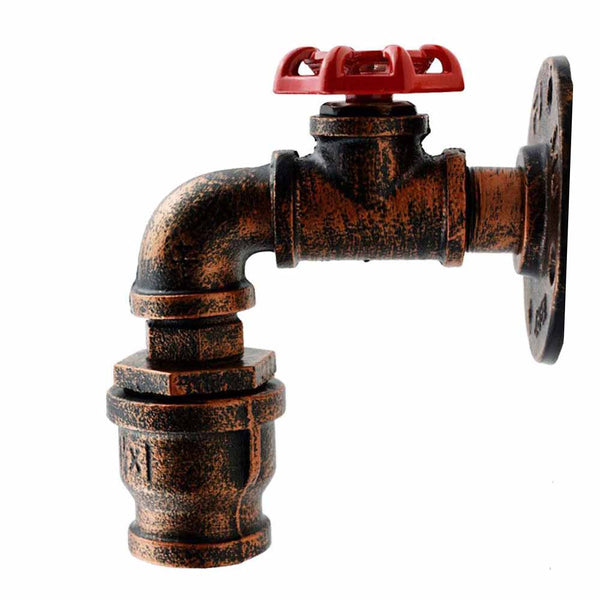 Rustic Red Water Pipe Wall Lighting (2)