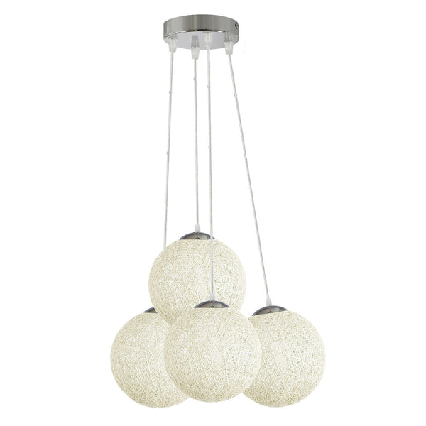 White Rattan Wicker Woven Ball Globe Pendant Lampshade Four Outlet