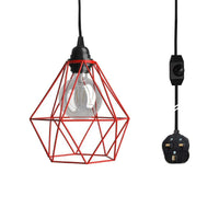 Red Cage With 4m Black Dimmer Switch Plug In Pendant Light