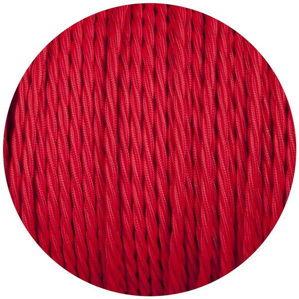 2 Core Twisted Red Vintage Electric fabric Cable Flex 0.75mm
