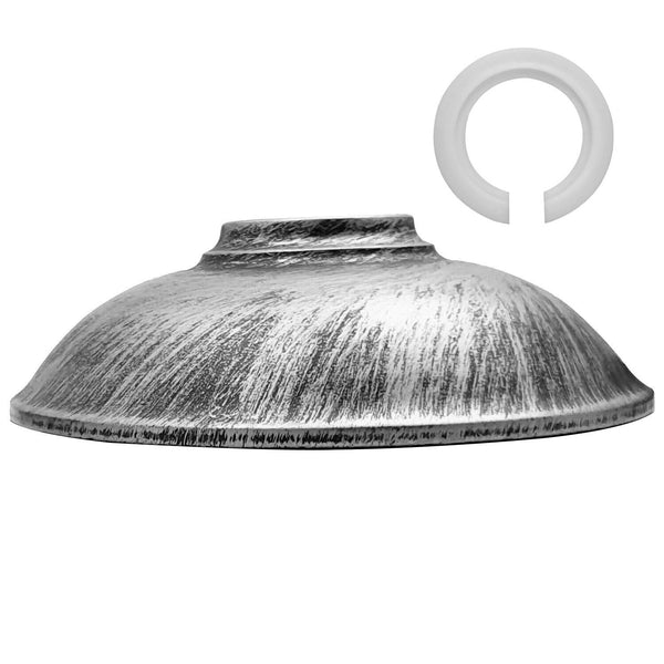 Retro Brushed Silver Metal Ceiling Light Fitting Pendant Shade