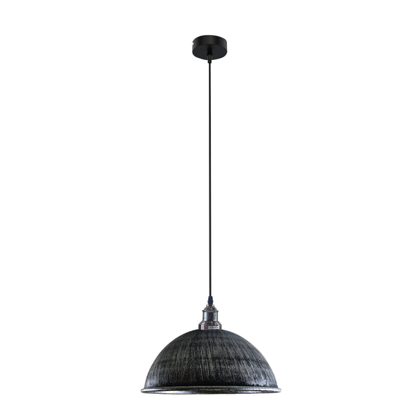 Retro Industrial Ceiling E27 Hanging Pendant Light Shade Brushed Silver