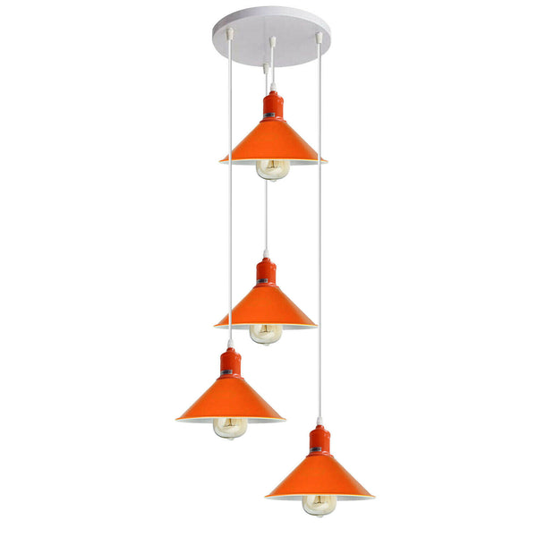 Four Outlet Retro Modern Orange Ceiling Pendant Industrial Light Shade Chandelier