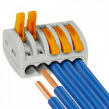 Reusable spring lever terminal block electrical cable clamp wire 5 connector