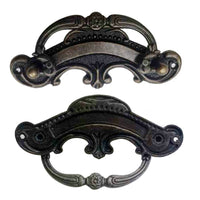 5 Pack Black Cast Iron Rustic Door Pull Handle Overall Length 90mm