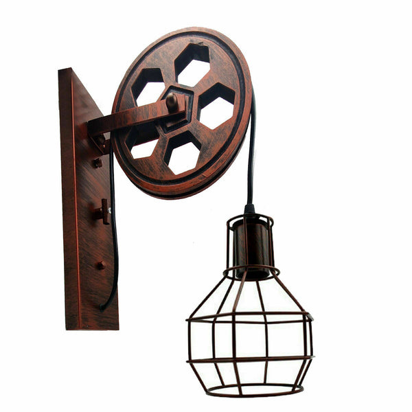 Rustic Red Loft Style Wall lamp Antique Lift Retractable Pulley Wall Lighting