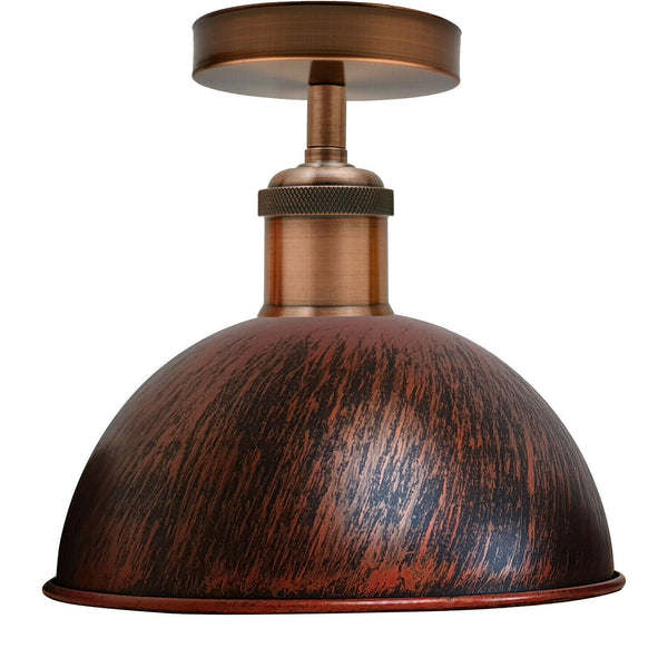 Rustic Red Vintage Retro Flush Mount Ceiling Light Rustic Color Metal Lampshade