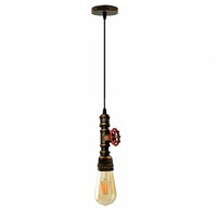 Rustic Red Color Chandelier Ceiling Light Water Pipe E27 Loft Pendant Light with FREE Bulb