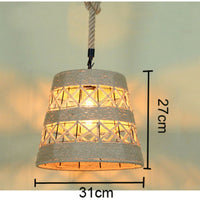 Vintage Industrial Loft Hemp Rope Iron Pendant Ceiling Light Retro Lamp
