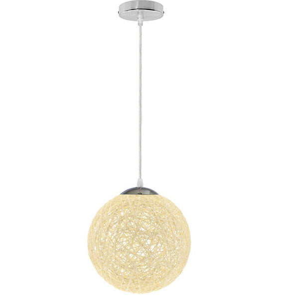 Modern Medium Cream Lattice Wicker Rattan Globe Ball Style Ceiling Pendant Light Lampshade