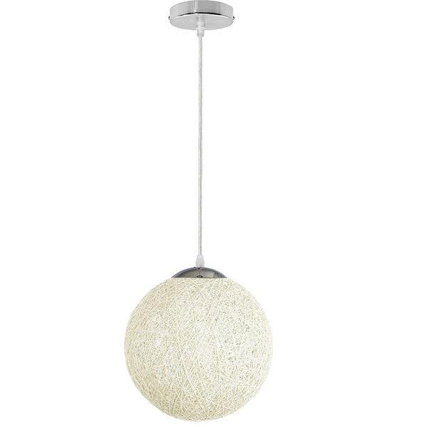 White Round Woven Rattan Vine Ball Pendant Lampshade Modern Ceiling Lamp