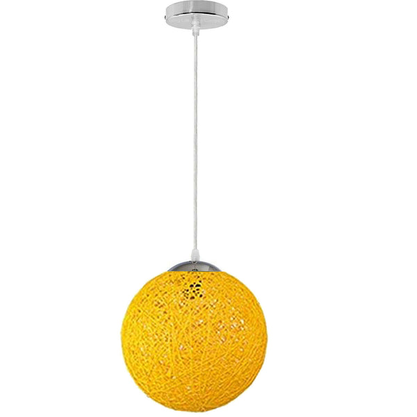 Yellow Modern Lattice Wicker Rattan Globe Ball Style Ceiling Pendant Light Lampshade