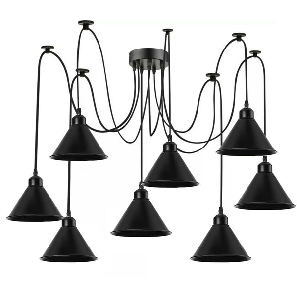 Multi Outlet 8 Way Ceiling Pendant Light For 2m PVC Cable