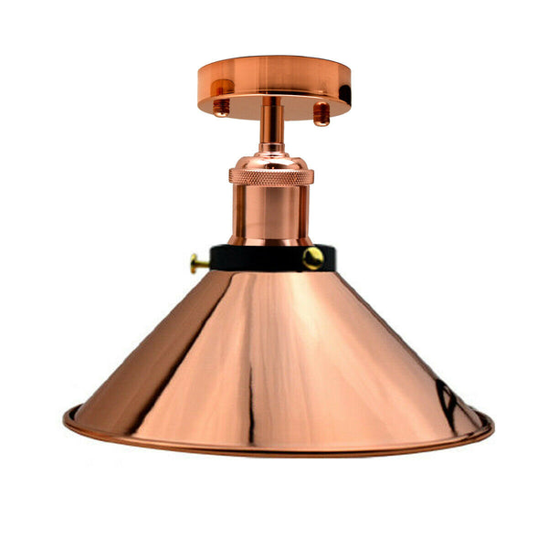 Vintage Industrial Ceiling Lights Retro  Pendant Rose Gold Shade Sconce Lamp