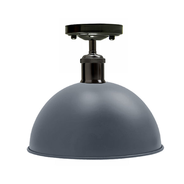 Vintage Industrial Loft Style Metal Ceiling Light Modern Grey Dome Pendant Lampshade