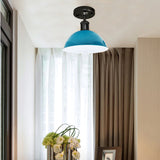Vintage Industrial Loft Style Metal Ceiling Light Modern Light Blue Dome Pendant Lampshade