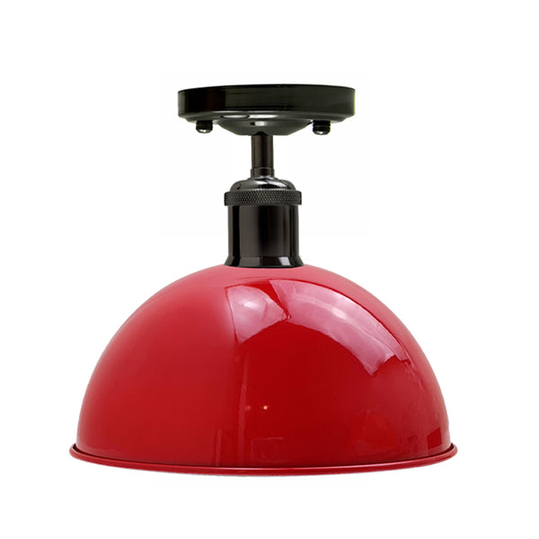 Vintage Industrial Loft Style Metal Ceiling Light Modern Red Dome Pendant Lampshade