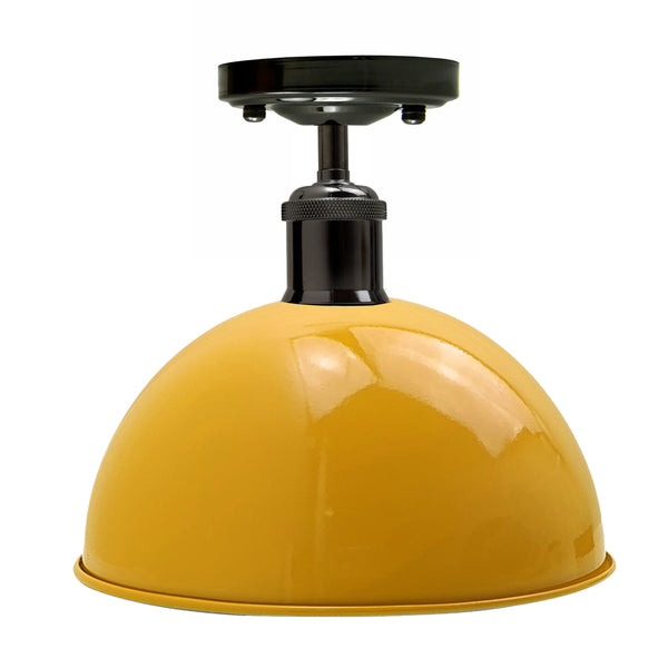 Vintage Industrial Loft Style Metal Ceiling Light Modern Yellow Dome Pendant Lampshade