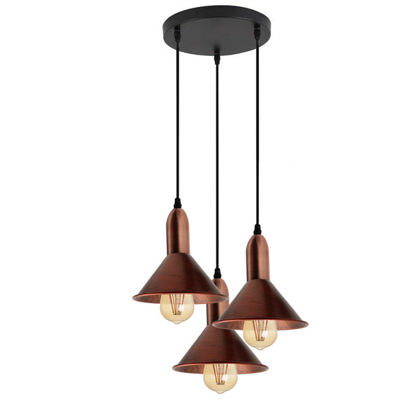 Retro Style 3 Way Rustic Red Metal Pendant Ceiling Light Fitting