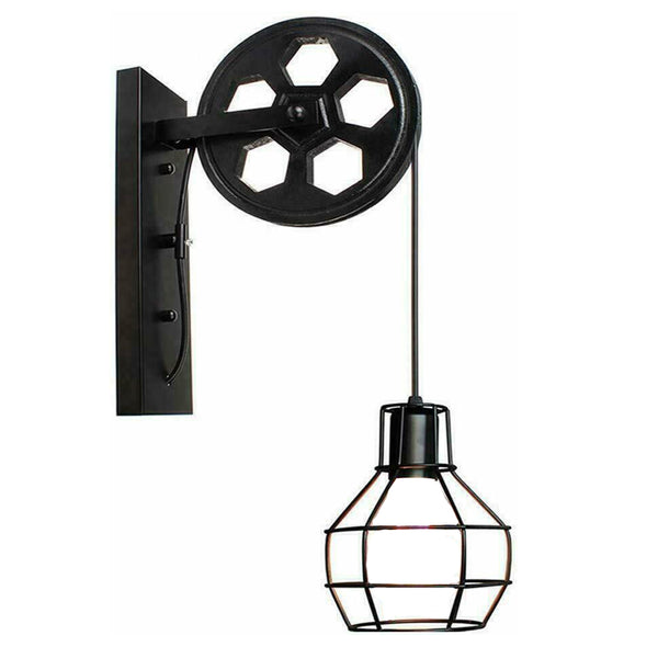 Black Industrial Pulley Wheel Style Cage Light