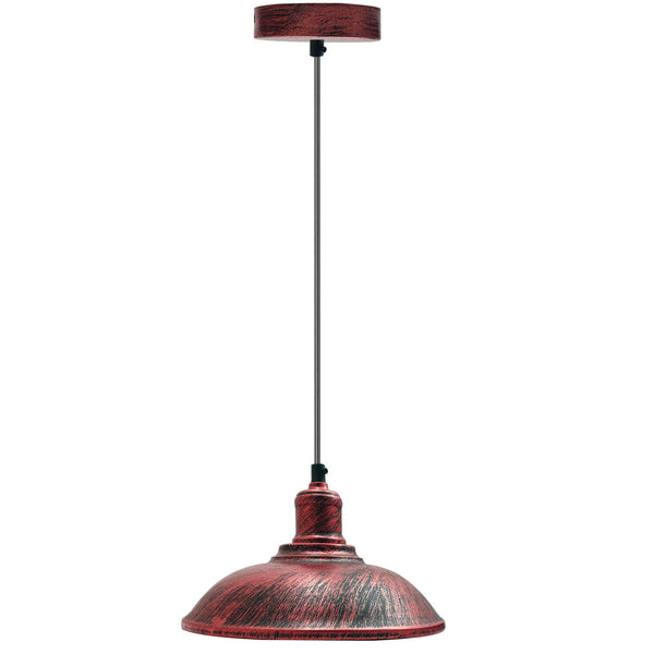 Rustic Red Modern Steel Lampshade Rustic Red Colour Retro Style Lighting