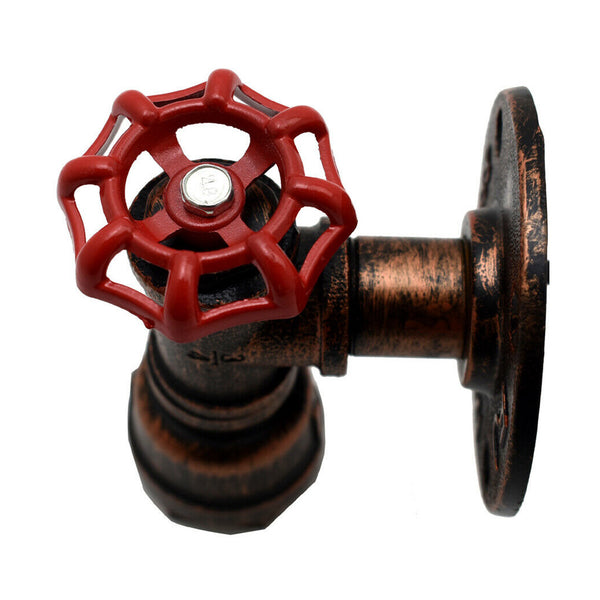 Vintage Rustic Red Metal Water Pipe Wall Sconce Light Holder with Wheel