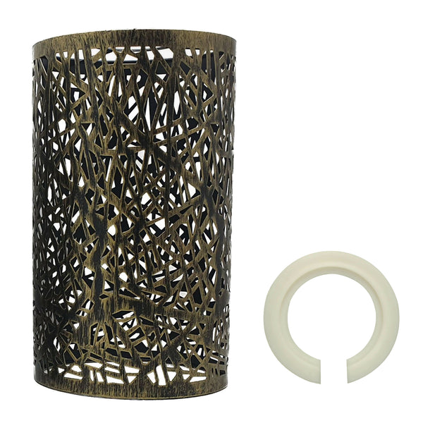 Modern Drum Lampshade Brushed Brass Colour Retro Style