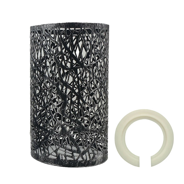 Modern Drum Lampshade Brushed Silver Colour Retro Style