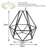 Modern Geometric Diamond Pendant Shade Ceiling Light Lampshade Black Metal Wire Frame Cages