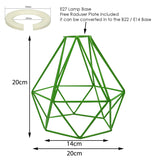 Industrial Metal Ceiling Pendant Light Shade Geometric Wire Cage Green Lampshade
