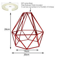 Vintage Red Metal Cage Industrial Wire Frame Pendant Light Loft Ceiling Lamp Shade