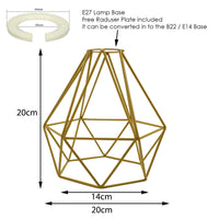 Modern Geometric Diamond Pendant Shade Ceiling Light Lampshade Yellow Metal Wire Frame Cages