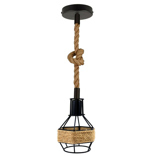 Vintage Pendant Shade Modern Hanging Retro Lighting Industrial Metal Hemp Ceiling